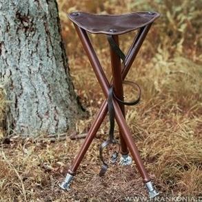 Lederen stabiele aanzitstoel met metalen voetjes