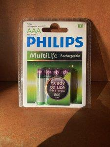 Philips Oplaadbare R03 batterijen AAA 800mAh - 1.2V