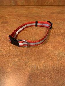 Halsband 35 - 60 cm Rood met Reflecterende strepen