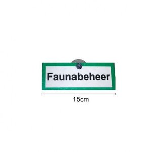 Auto raam plaatje 'Faunabeheer'