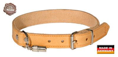 Leder Halsband + Adres Hanger Licht Bruin - AKAH