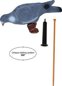 Lokvogel duif geflockt XL 40cm + rotatie draaisysteem